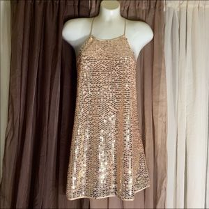 Victoria's Secret Satin Sequin Top Light Pink/Gold